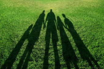 Shadow of family holding hands in park